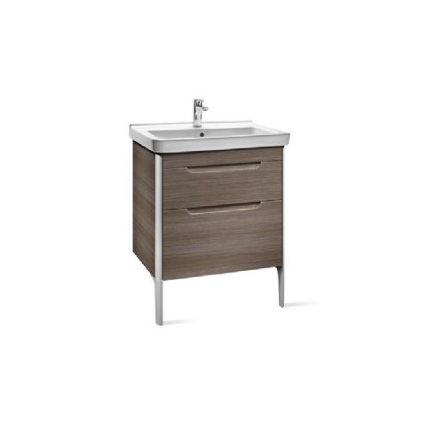 Roca Dama-N 2 Drawer Wall Hung Vanity Unit & Basin 650mm x 585mm 1 Tap Hole Light Textured Wood